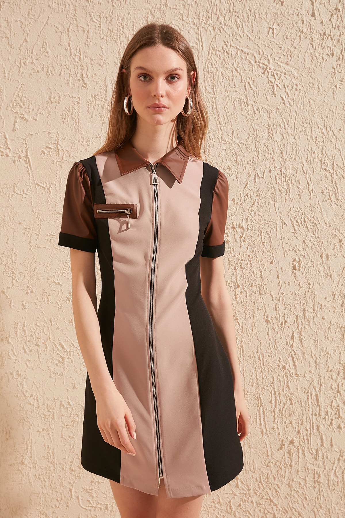 Trendyol Leather Detail Dress TWOSS20EL0484
