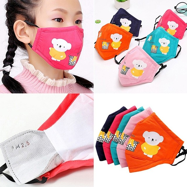 1PCS PM2.5 Activated Carbon Face Mouth Masks Reusable Breathable Cotton Protective Children Cartoon Cute Anti-flu Anti-fog Mask 5