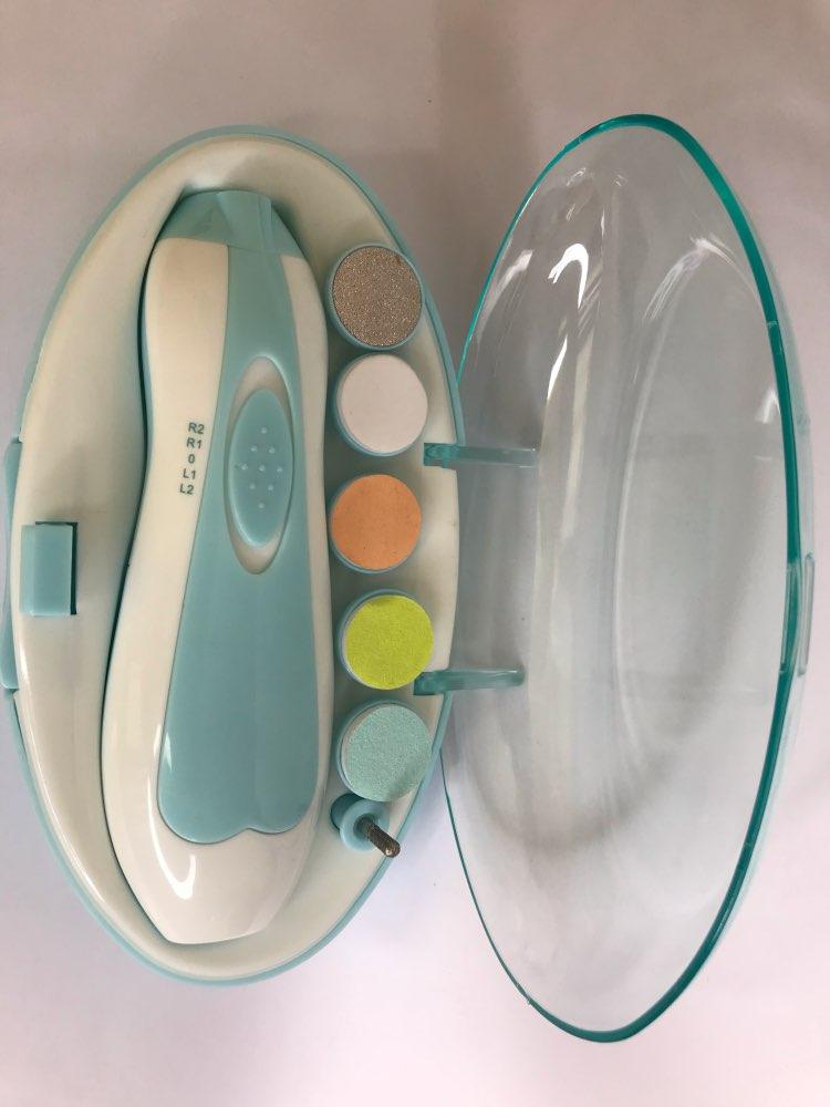 Electric nail polisher baby blue powder 6-piece electric nail clipper baby nail clipper manicure set baby newborns baby care Kit