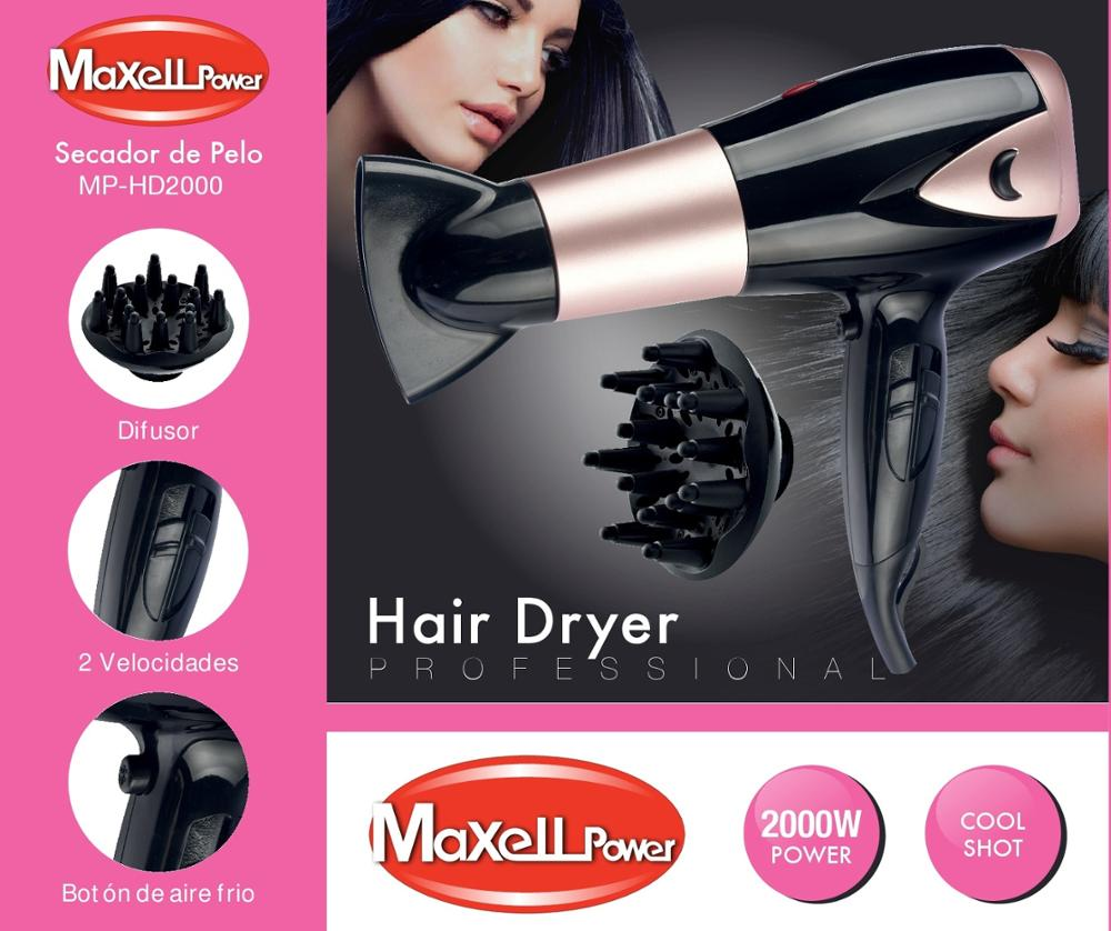 DRYER HAIR SEMI PROFESSIONAL 2000W DIFFUSER INCLUDED 2 AXIS POWERS HEAT MP-HD2000