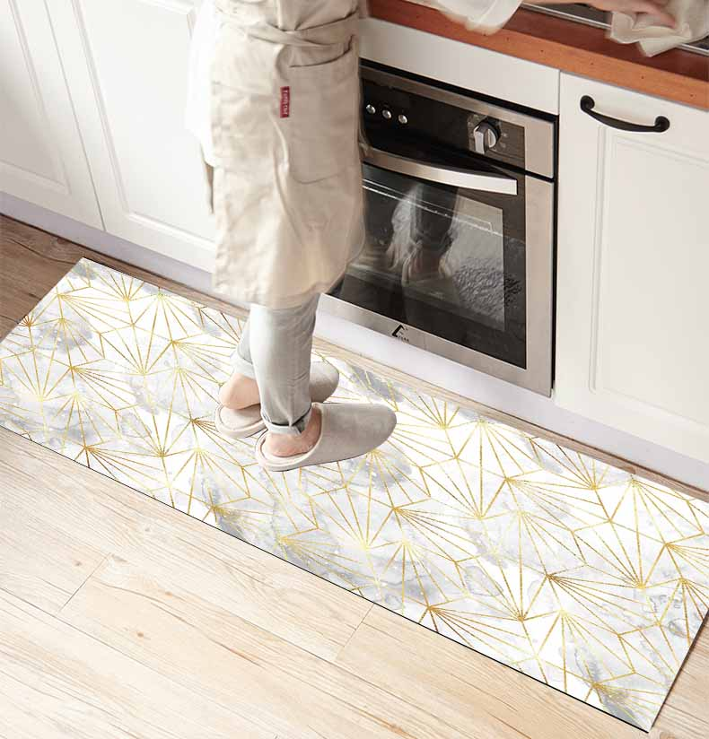 Else White Gray Clouds Yellow Lines 3d Print Non Slip Microfiber Kitchen Counter Modern Decorative Washable Area Rug Mat