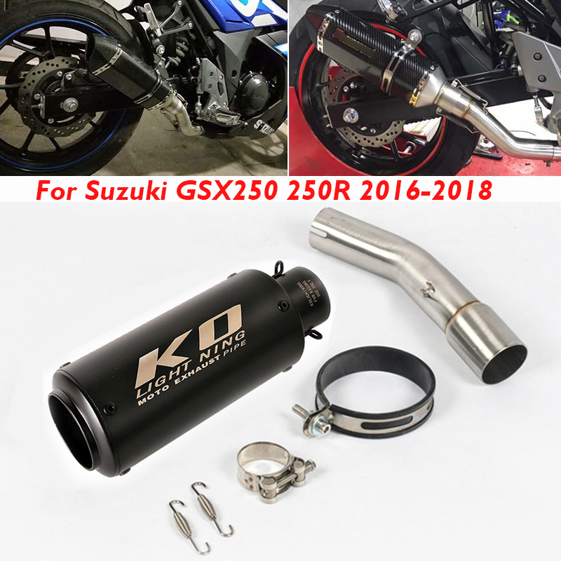Motorcycle <font><b>Exhaust</b></font> Muffler Pipe Tip Silencer Escape Tail System Middle Connector Pipe for <font><b>Suzuki</b></font> GSX250 <font><b>GSX250R</b></font> 2016 2017 2018 image