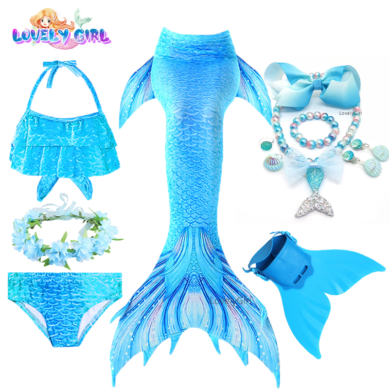 Mermaid-Dress Monofin Cosplay Girl Birthday-Party Little Children Girls
