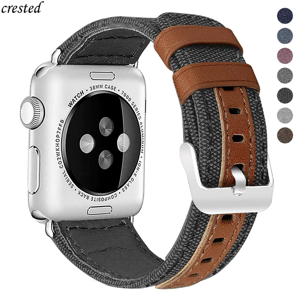 Canvas+Leather Band For Apple Watch 44mm/40mm IWatch Band 42mm 38mm Watchband Bracelet Strap Apple Watch 5/4/3/2 38 42 40 44 Mm