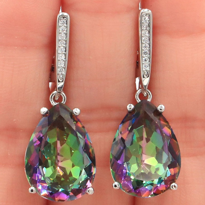 27x13mm SheCrown Jewelry Set Water Drop Created Fire Rainbow Mystic Topaz CZ For Women Daily Wear Silver Earrings Pendant