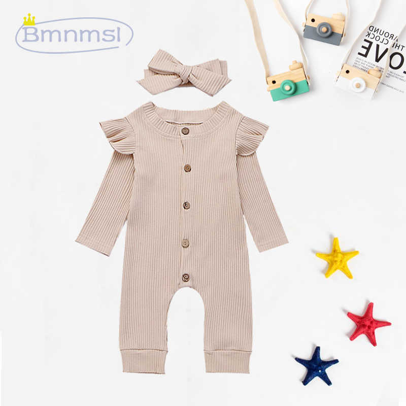 0-24M Newborn Baby Girl Long Sleeve Knitted Romper Little Heart Printed Ruffle Playsuit Clothes Outfit Onesie
