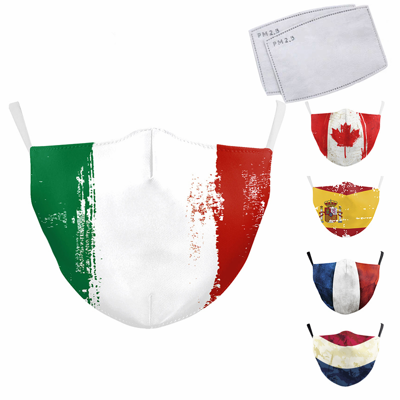 Italy Spain Country Flag Printed Cloth Mask Washable Reusable Face Masks Fabric Adult PM2.5 Mask Filter Protective Mouth Mask