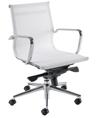Office Armchair SNOWFALL (S), Rotatable, White Mesh