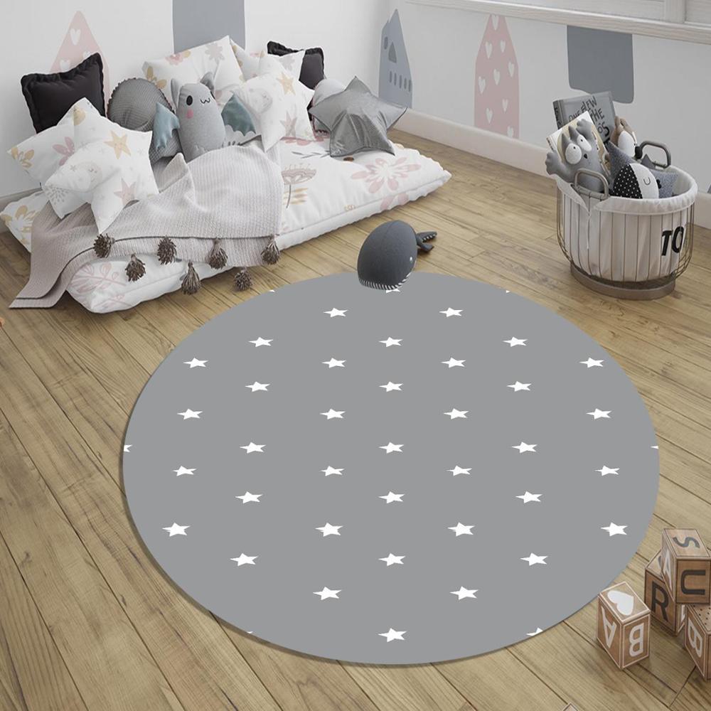 Else Gray White Stars Nordec 3d Pattern Print Anti Slip Back Round Carpets Area Rug For Kids Baby Children Room