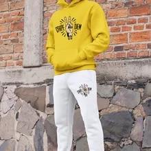 Angemiel Wear Carpediem Peace Mark, conjunto de chándal para hombres, Sudadera con capucha amarilla, pantalones de chándal blancos