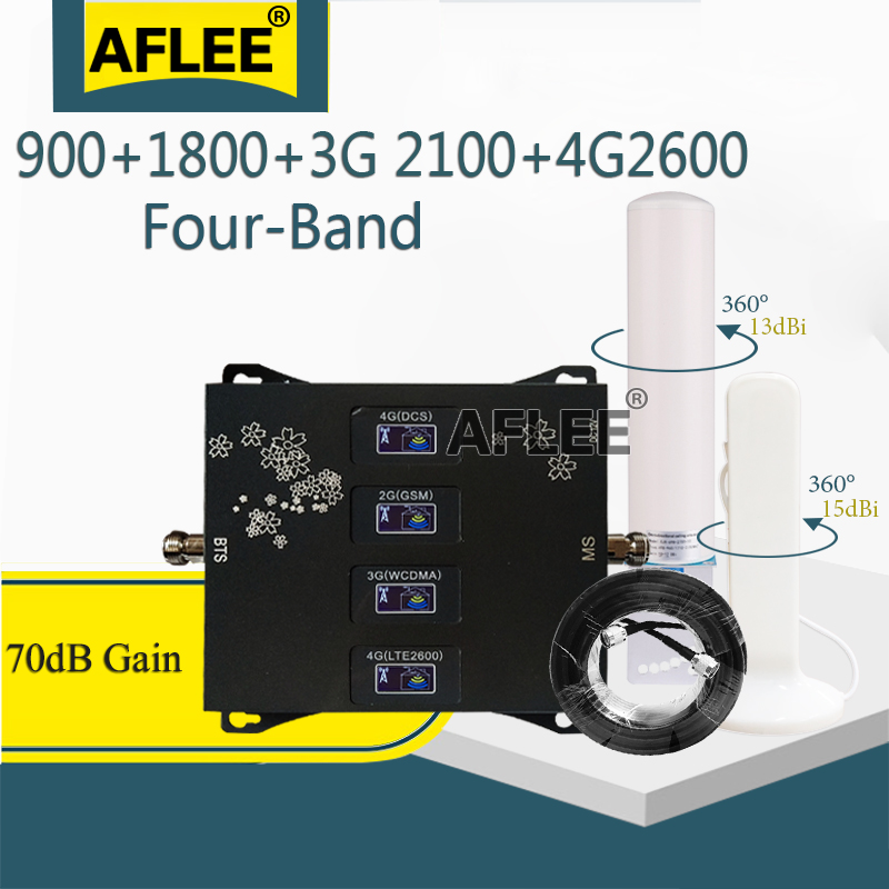 New!!900 1800 2100 2600 Mhz Four-Band Cell Phone Cellular Amplifier GSM Repeater 2G 3G 4G Signal Booster GSM DCS WCDMA LTE Set