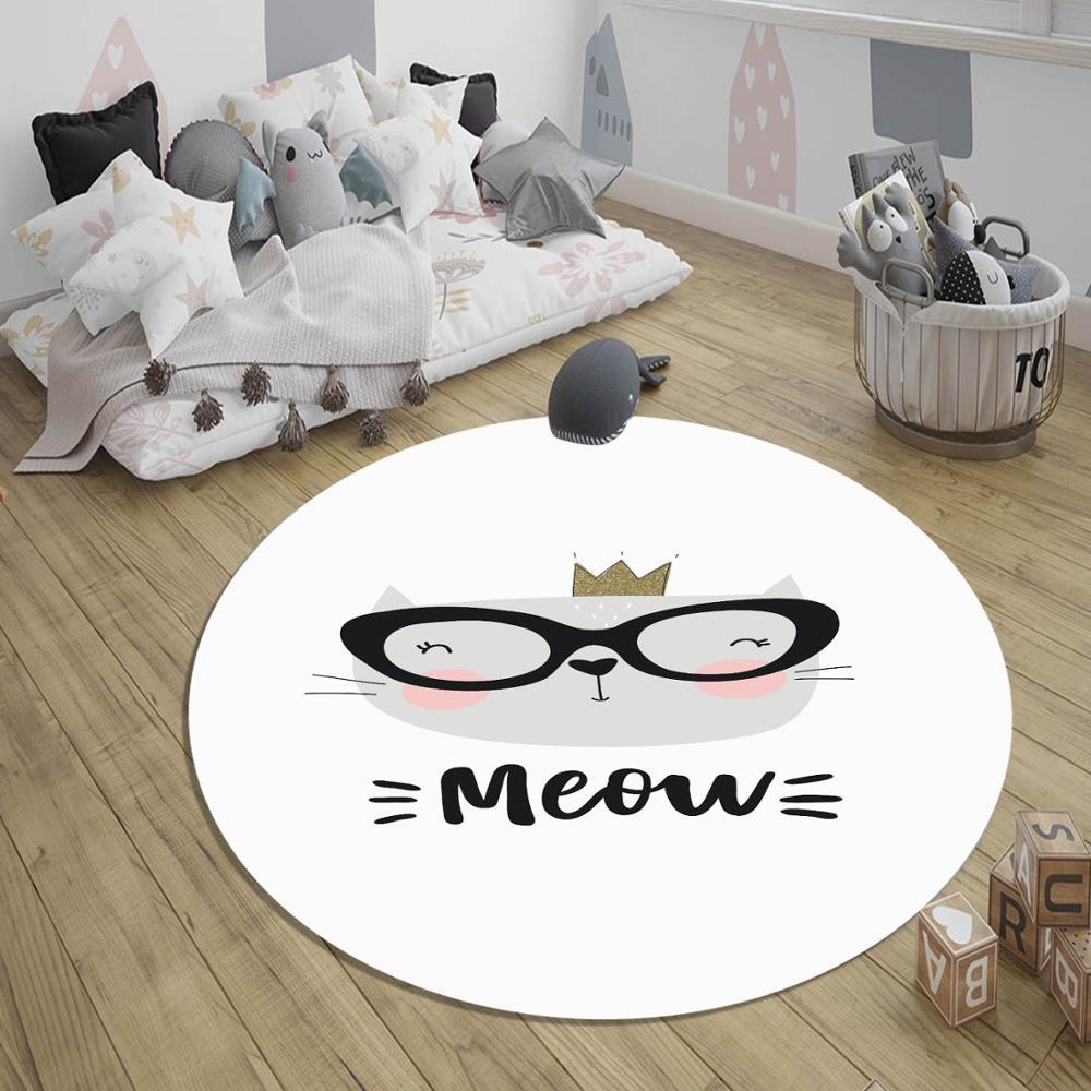 Else Gray Black White Cute Cat 3d Pattern Print Anti Slip Back Round Carpets Area Rug For Kids Baby Children Room