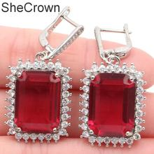 40x20mm Elegant Rectangle 18x13mm Pink Tourmaline White CZ Ladies Silver Earrings