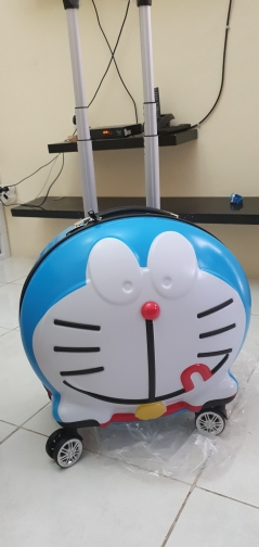 Cartoon robot cat high quality Rolling Luggage 19 inch Children Cabin travel Bag Kids Suitcase Wheels
