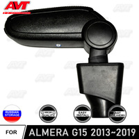Car armrest for Nissan Almera G15 2013-2019 central console leather storage box content decor interior accessories car styling