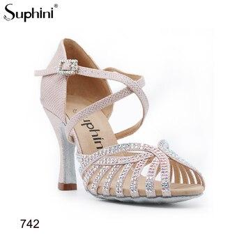 Latin-Dance-Shoes Suphini 742 Handmade Pink Glitter Sparkle Woman Salsa Latin Dance shoes