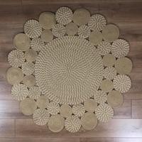 Else Round Natural Jute Carpet Sisal Nomad Natural Fiber Collection Hand Woven Natural Jute Area Rug For Home Living Room