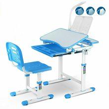 Height Adjustable Kids Desk and Chair Set Children Study Table + LED Blue cheap CN(Origin)