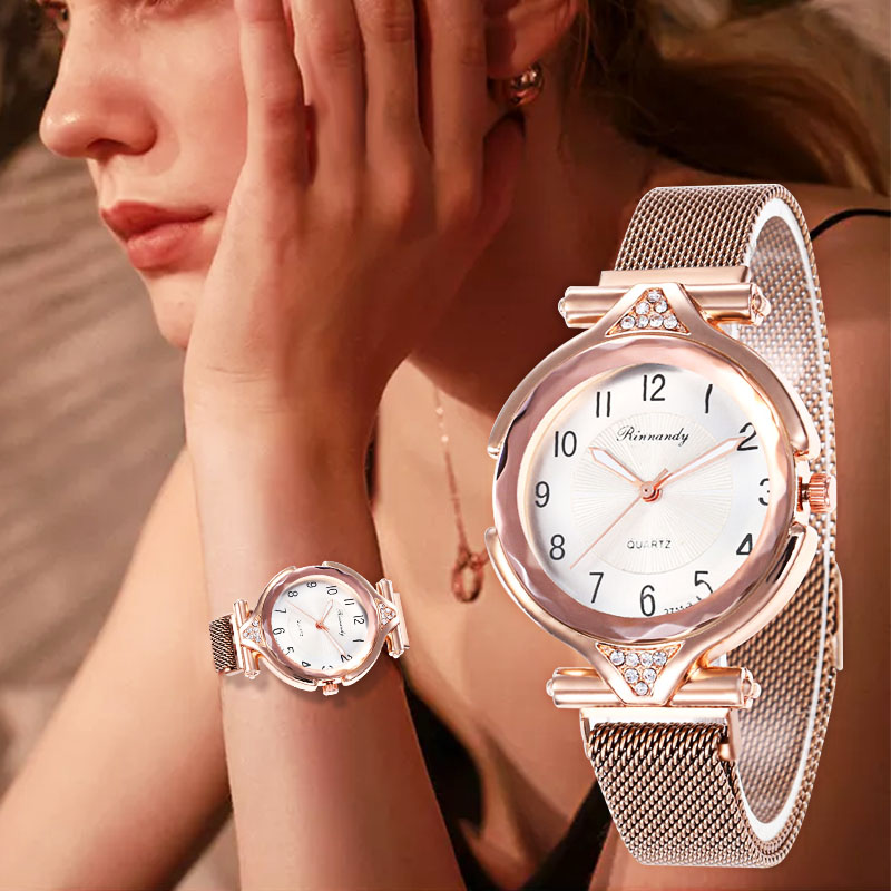 WJ-8562 Classic Dial Magnetic Buckle Watch Clock Rose Gold Quartz Wristwatch For Female Girls Fashion Women Watch Luxury Diamond