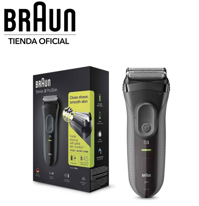 Braun Series 3 ProSkin 3000s Shaver Electric Rechargeable Wireless Triple Action Cut, IPX7, MicroComb, Print Giclee SensoFoil