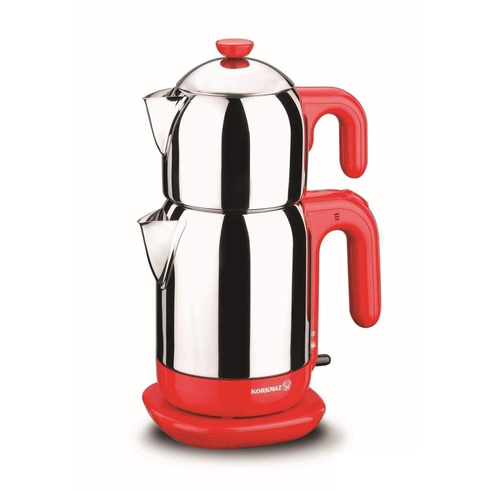 Korkmaz A369 Red 1600W Steel Tea Machine Turkish Electric Teapot, Tea Kettle Machine Maker, Samovari Turkish Tea Maker, Tea Urn