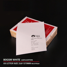 80gsm,100% cotton paper,Letter size 216*279mm,White color,Starch-free,Waterproof,200 sheets CYT015