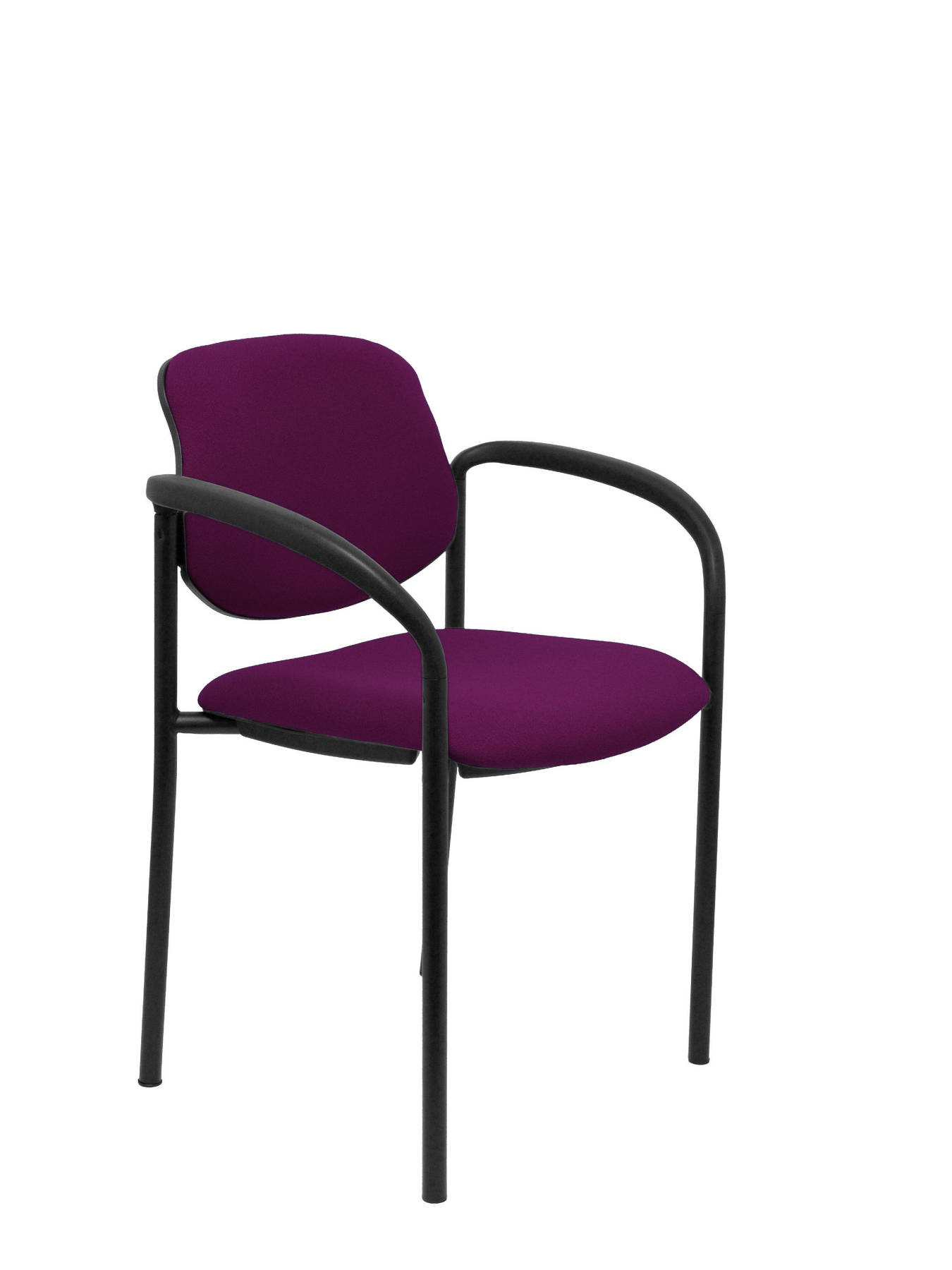 Visitor Chair 4's Topsy, With Arms And Estructrua Negro-up Seat And Backstop Upholstered In BALI Tissue Mulberry Colour PI
