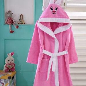 Банный халат, Детская Пижама для девочек и мальчиков, детская одежда для сна, с капюшоном, 100% хлопок, с вышивкой, Зимние Детские Банные халаты...