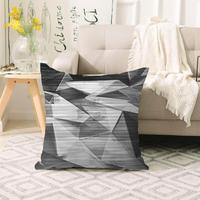 Else Black Gray Patchwork Boxes Lines Scandinavian 3d Print Sofa large pillow case Floor cushion covers Hidden Zipper 70x70cm