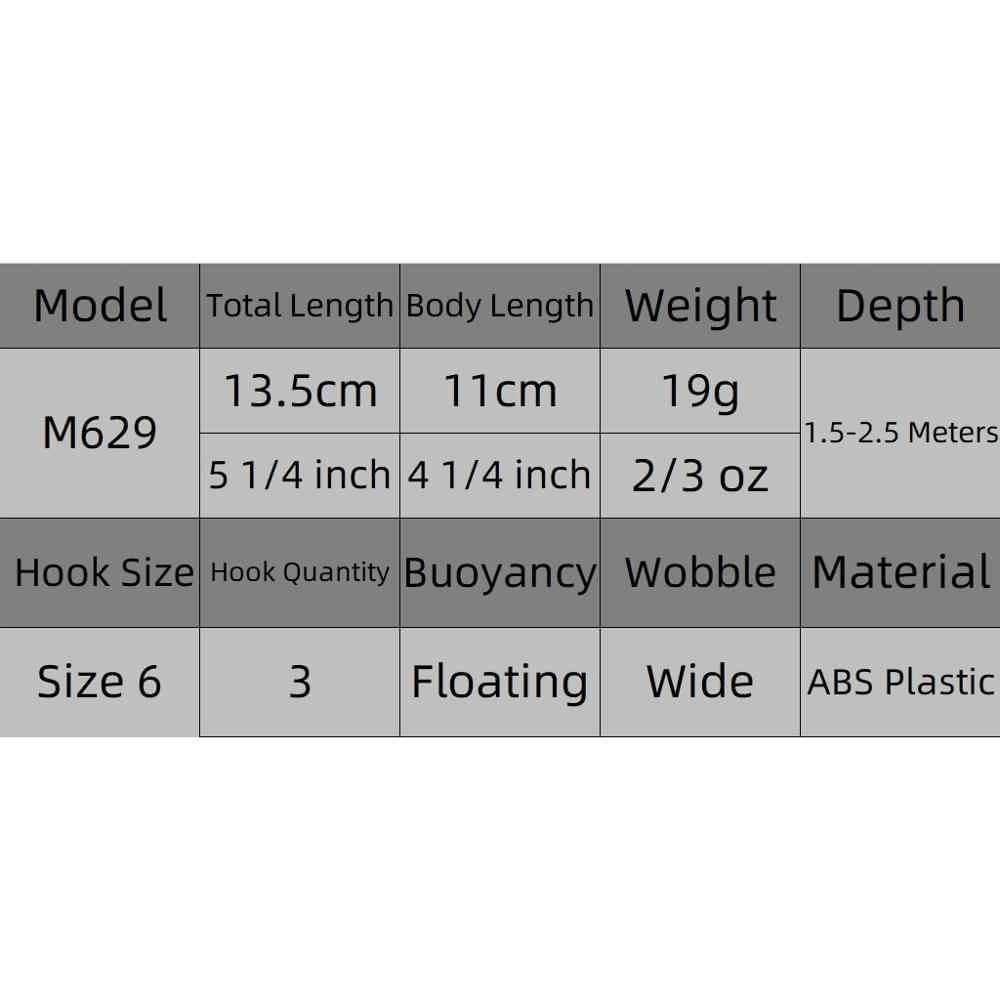 WLure 13.5 centimetri 19g di Slow Retriever Ampio Wobble Action Pike Esca Veloce Galleggiante 2 Metri di Profondità 3 Ancorette richiamo di Pesca di mare M629
