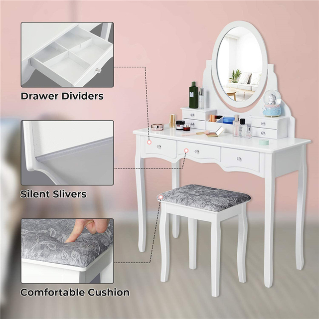 Dressing Table Set with 7 Drawers and 1 Movable Storage Box Wood Makeup Vanity Table Stool with 360° Rotating Oval Mirror White 3