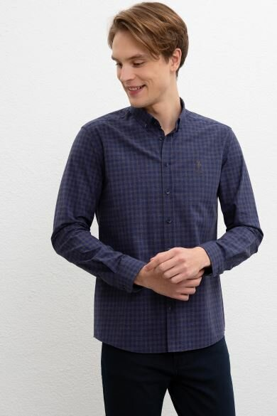 U.S. POLO ASSN. Navy Blue Square Slim Shirt