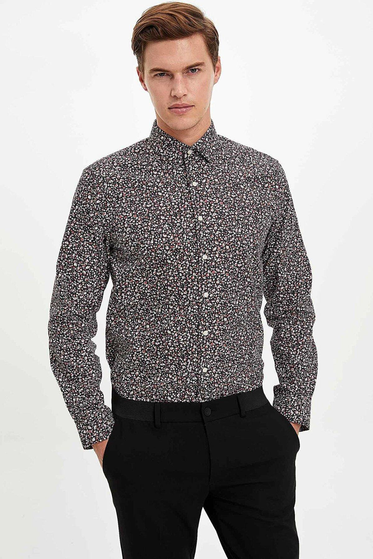 DeFacto Man Winter Stylish Prints Shirts Smart Casual Turn-down Collar Long Sleeve Shirt Men's Formal Tops Shirts-M2651AZ19WN