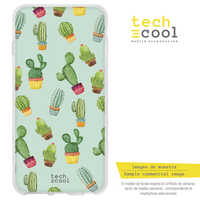 FunnyTech®Stand case for Samsung Galaxy A8 Silicone 2018 L Cactus patterns fund Green