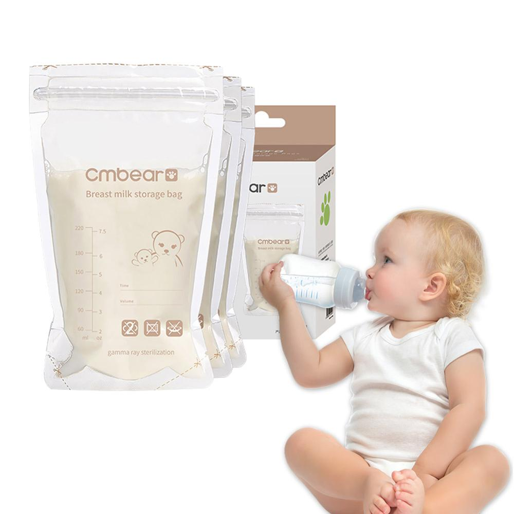 30/50pcs 220ml Breast Milk Storage Bags Disposable Baby Liquid Food Fresh Sealed Bags Portable Infant Feeding Pouchs Packages
