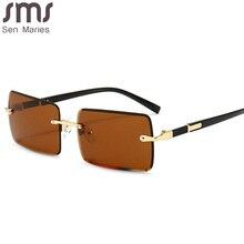 2020 Rectangle Vintage Fashion Sun Glasses Rimless Women Sunglasses Gradient Lens Brand Designer Oculos De Sol Feminino