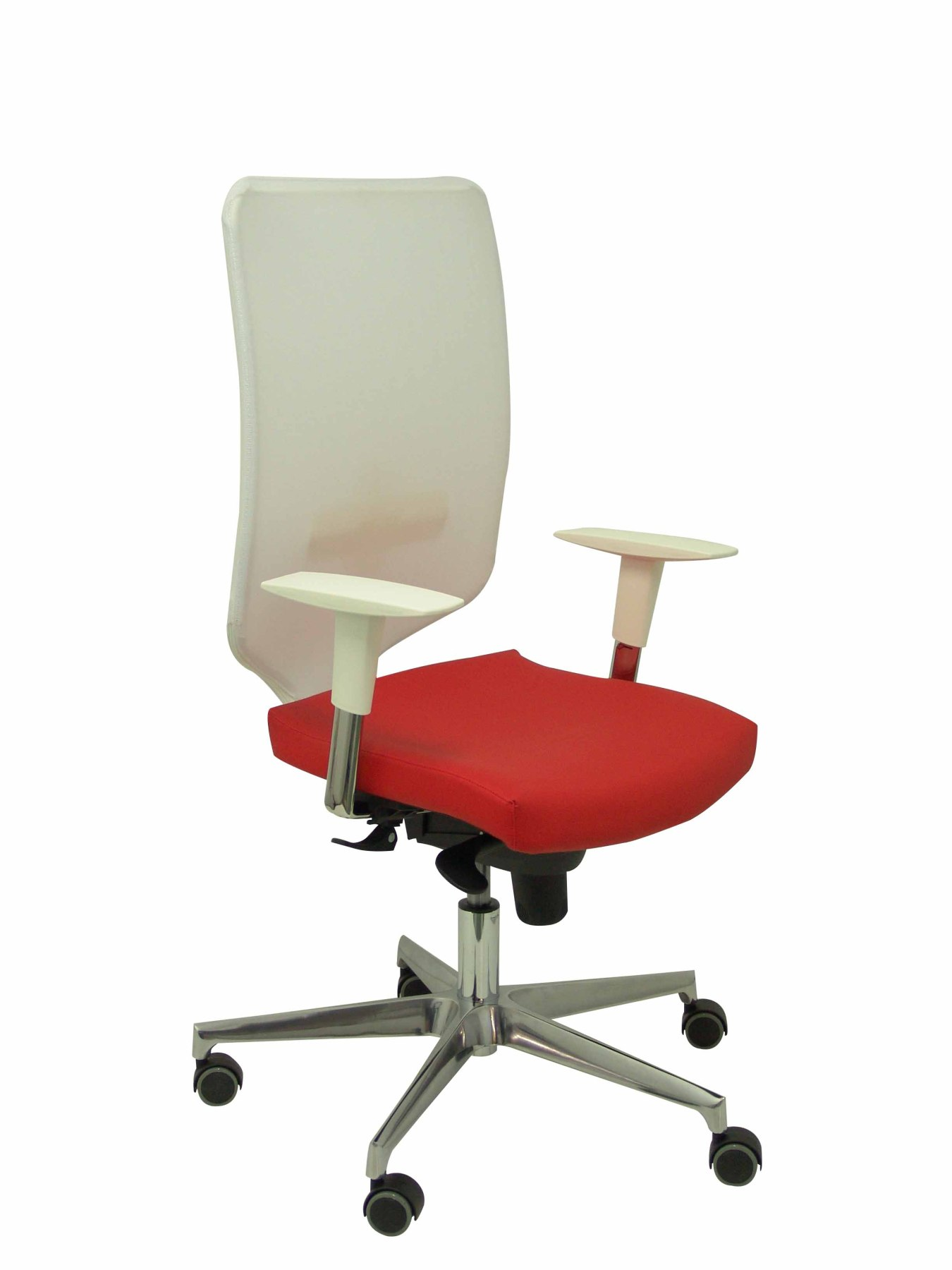 Ergonomic Office Chair With Mechanism Synchro And Height Adjustable Mesh Back And White Color Seat Tap
