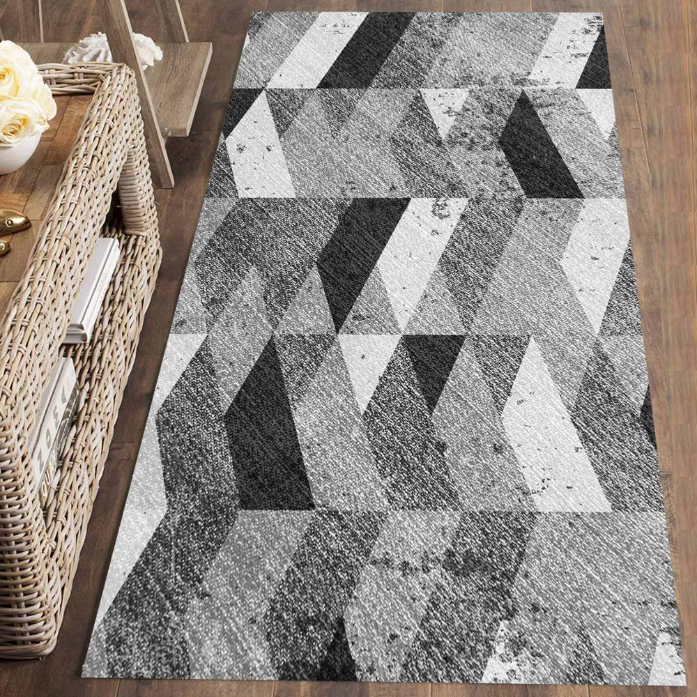 Else Gray White Black Geometric Nordec 3d Print Non Slip Microfiber Washable Long Runner Mat Floor Mat Rugs Hallway Carpets