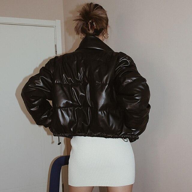 Winter Parka Coat Women's Jacket Thick Warm Women Fashion Black PU Leather Coats Women Elegant Zipper Faux Leather Jackets Tops 2