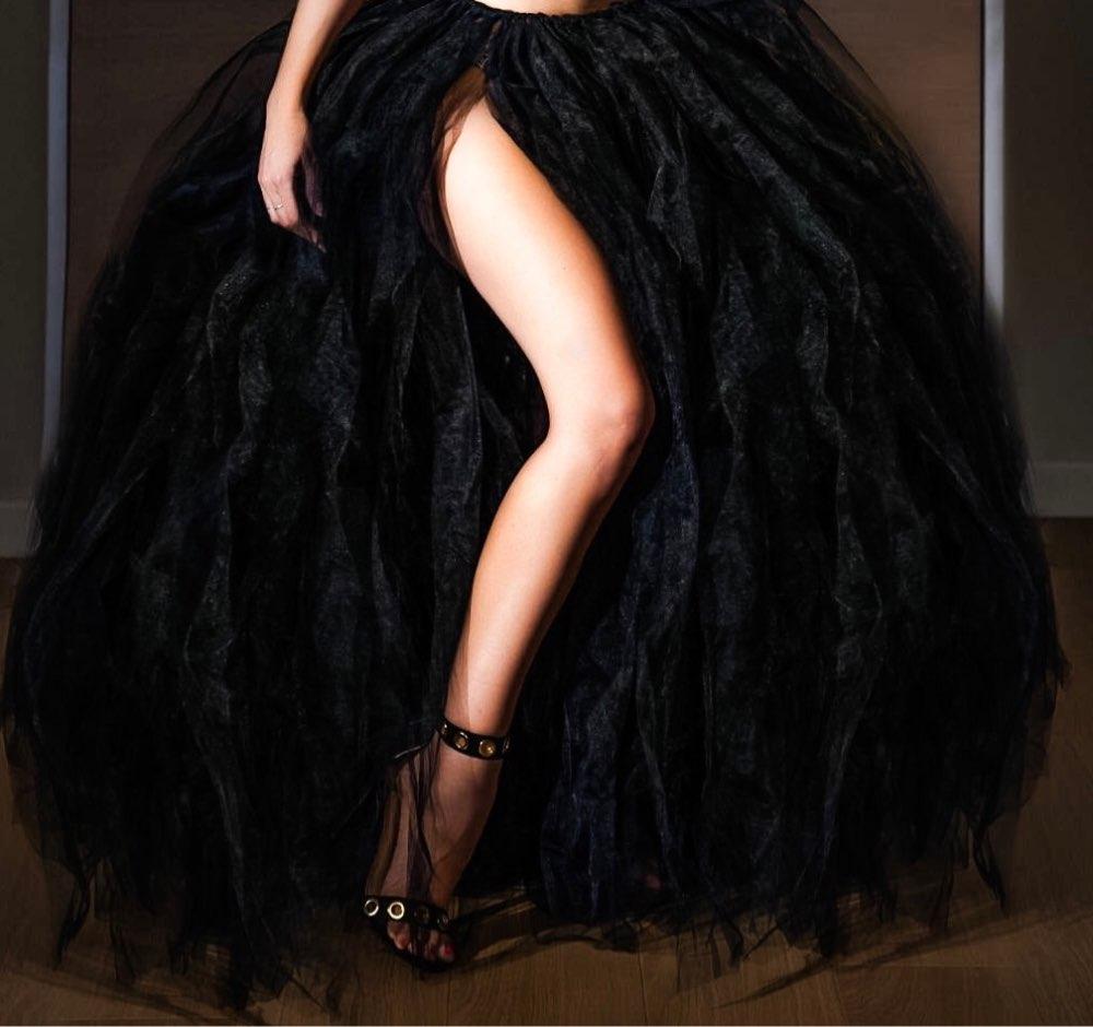 Floor Length Wedding Skirt Tulle Overskirt Sexy Pleated Fashion Handmade Woman Tutu Female Long Skirt Lolita Saia Longa photo review