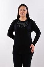 Women's Large Size Fronting Taşlamalı Black Blouse 418