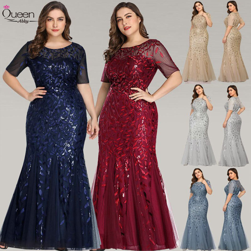 Queen Abby Evening Dresses Mermaid Sequined Lace Appliques Elegant Mermaid Long Dress 2020 Party Gowns Plus Size