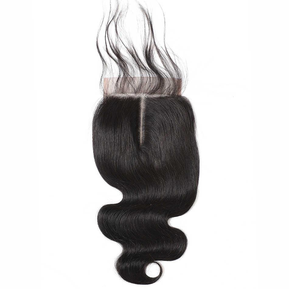 Mobok 5x5 onda do corpo fechamento do laço cabelo humano brasileiro cor natural remy cabelo meio/livre/três parte frete grátis atacado