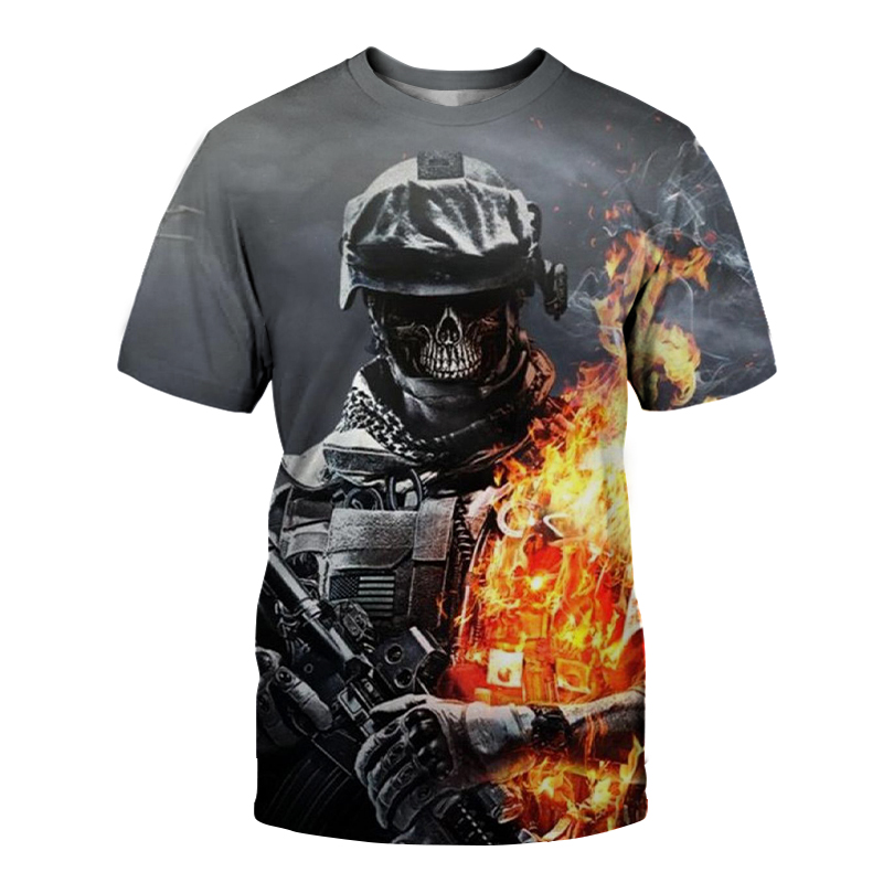 Military 3d Print Skull T Shirt Men Black Tshirt Funny Punk Rock Clothes T-shirt Hip Hop Mens Clothing Summer Streetwear