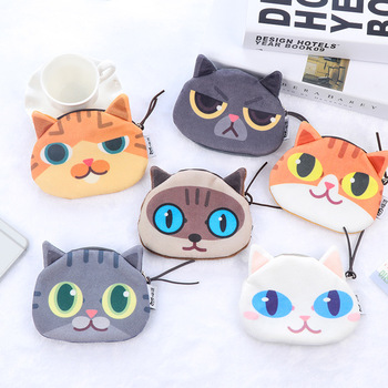 Styles Cute Cartoon Cat Coin Purse Sweet Girl Plush Cotton Small Wallet Child Mini Zipper Pocket Bag Key Card Coin Holder image