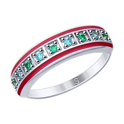 SOKOLOV Ring Of Silver With Enamel And Fianitami