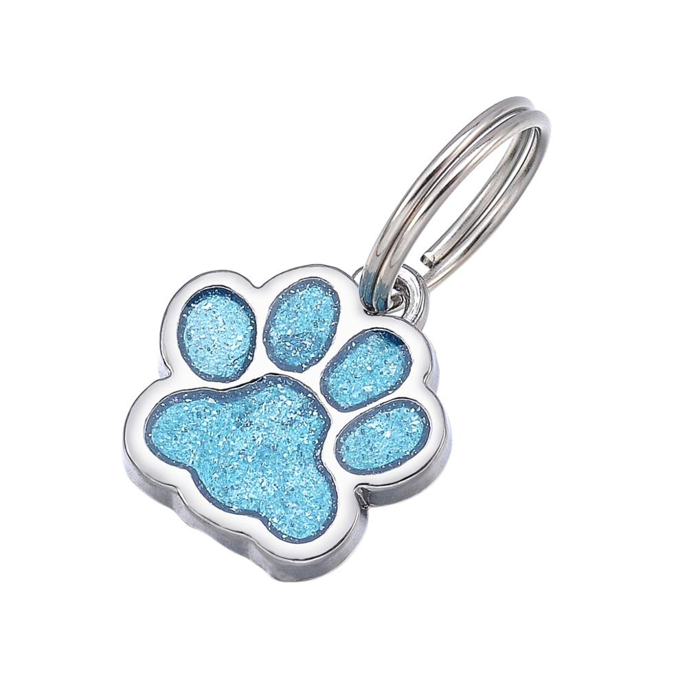 Blue + White K Alloy Dog Shape Dog Tag Pet Accessories Tag Puppy Supplies Bear Paw