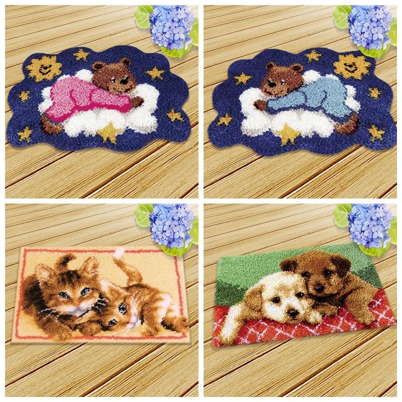 Animal Series Latch Hook Kit Cute Bear Latch Hook Rug Kits Cat Dog Segment Embroidery Pillow Wool Carpet Embroidery knooppakket