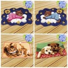 Ensemble de crochets à loquet, série d'animaux, ours mignon, tapis, chat, chien, Segment de broderie, oreiller en laine, tapis de broderie, knoppakket