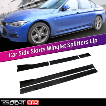 Esportcar 6PCS Carbon Look/Black 2m/ 2.2m Universal Side Skirt Extensions Car Skirts Winglet Splitters Lip For all cars